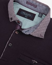 Ted Baker | Purple Woven Collar Polo Shirt for Men | Lyst