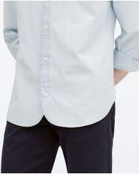 Zara | Blue Mao Collar Denim Shirt for Men | Lyst