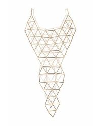 TOPSHOP | Metallic Triangle Link Front And Back Necklace | Lyst