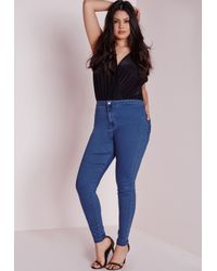 Missguided | Plus Size High Waisted Skinny Jeans Mid Blue | Lyst