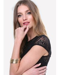 Bebe - Metallic Textured Bangle Bracelet - Lyst