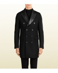 41ad4fc5e2f8 Gucci Wool Felt And Leather Coat in Black for Men - Lyst