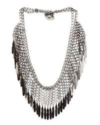Saint Laurent - Metallic Plumes Fringe Necklace - Lyst