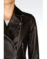 Emporio Armani - Brown Light Leather Jacket - Lyst