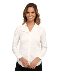 NYDJ - White Fit Solution Double Shawl Collared Blouse - Lyst