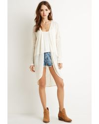 Forever 21 | Natural Textured Longline Cardigan You've Been Added To The Waitlist | Lyst