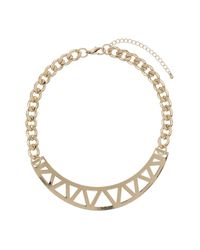 TOPSHOP - Metallic Triangle Cut Out Necklace - Lyst