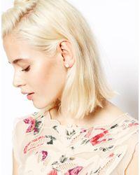 ASOS - White Faux Pearl Cone Stud Earrings - Lyst