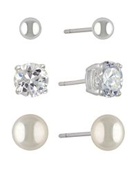 Lord & Taylor | Metallic Mini Stud Earring Set 3 Pairs | Lyst