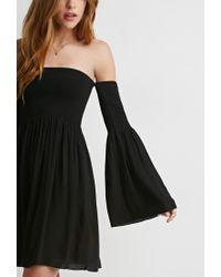 Forever 21 - Black Smocked Off-the-shoulder Dress - Lyst