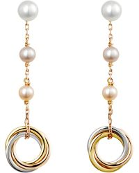Cartier | Trinity 18Ct Pink-Gold And Pearl Earrings | Lyst