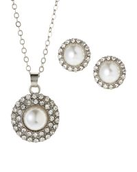 Ak Anne Klein | Metallic Silver-Tone Faux Pearl Earrings & Necklace Set | Lyst
