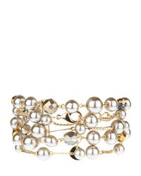 Jaeger | Brown Multi-row Pearl Chain Bracelet | Lyst