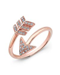 Anne Sisteron | Pink 14kt Rose Gold Diamond Wrap Around Arrow Ring | Lyst