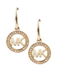 Michael Kors | Metallic Mk Pave Drop Earrings | Lyst