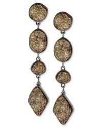 Robert Lee Morris - Metallic Robert Lee Morris Hematite-tone Geometric Gold Drusy Linear Earrings - Lyst