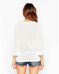 ASOS | White Petite Exclusive Lightweight Knitted Sweater With Button Front | Lyst