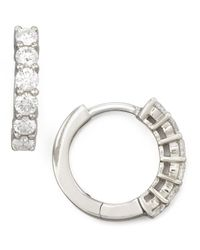 Roberto Coin | Metallic 13mm White Gold Diamond Hoop Earrings | Lyst