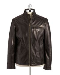Cole Haan | Black Lambskin Leather Moto Jacket for Men | Lyst
