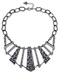 Guess | Metallic Hematite-tone Necklace With Clear Crystal And Leopard Print Glitter Front Accents | Lyst