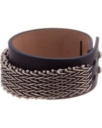 Lanvin - Metallic Silver and Leather Chainmail Bracelet for Men - Lyst