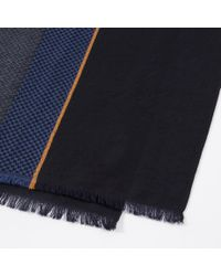 Paul Smith - Blue Navy Colour Block Wool Scarf for Men - Lyst