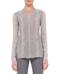 Akris - Pink Long-sleeve Gravel-print Silk Top - Lyst