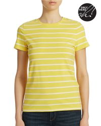 Lord & Taylor | Yellow Petite Striped Crew Neck Tee | Lyst