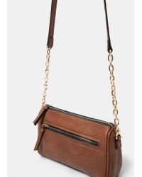 Violeta by Mango | Brown Zipped Pebbled Bag | Lyst