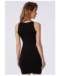 Missguided - Greek Key Print Bodycon Dress Black - Lyst