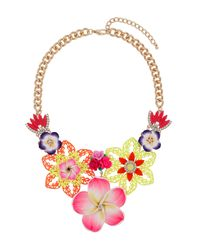 TOPSHOP | Pink Brightly Coloured Flower Necklace | Lyst