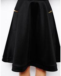 ASOS - Black Midi Skirt in Scuba with Zips - Lyst