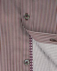 Ted Baker | Brown Satin Striped Shirt for Men | Lyst
