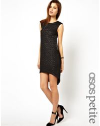 ASOS - Black Exclusive Quilted Jacquard Dress with Dipped Hem - Lyst