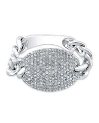 Anne Sisteron | Metallic 14kt White Gold Diamond Bean Ring | Lyst
