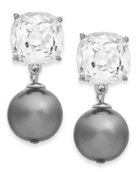 kate spade new york - Metallic Silver-Tone Glass Stone And Faux Pearl Drop Earrings - Lyst