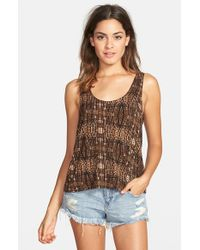 Volcom - Brown 'secrecy' Mixed Print Tank - Lyst