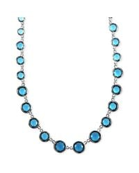 Anne Klein | Metallic Silvertone Blue Bead Collar Necklace | Lyst
