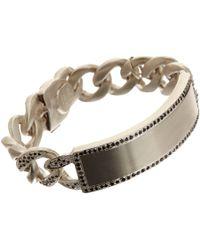 Ann Dexter-Jones - Metallic Black Diamond & Sterling Silver Id Bracelet - Lyst