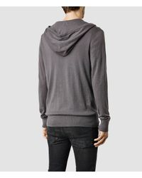 AllSaints | Gray Mode Merino Zip Hoody for Men | Lyst