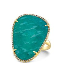 Anne Sisteron | Metallic 14kt Yellow Gold Amazonite Diamond Organic Shape Cocktail Ring | Lyst