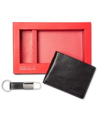 Perry Ellis | Black Gift-boxed Saffiano Leather Wallet & Key Fob Gift Set for Men | Lyst