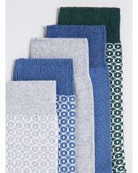 TOPMAN - Blue 2 Colour Honeycomb Socks 5 Pack for Men - Lyst