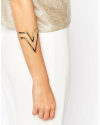 Pieces - Metallic Reylyn Graphic Cuff Bracelet - Lyst