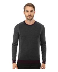 Ted Baker | Gray Lewcat Color Block Long Sleeve Crew Neck for Men | Lyst