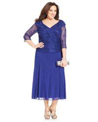 Alex Evenings   Blue Plus Size Lace Portrait-Collar Dress   Lyst