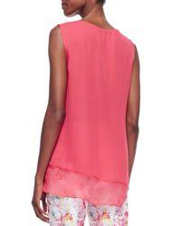 Elie Tahari - Pink Jessa Sleeveless V-Neck Asymmetric Blouse - Lyst