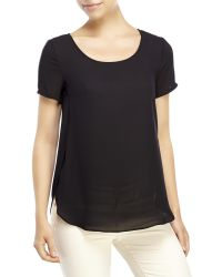 Lush | Black Short Sleeve Woven Top | Lyst