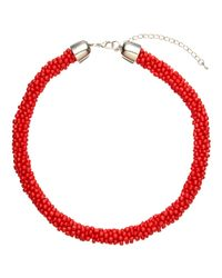 John Lewis | Red Twisted Bead Necklace | Lyst