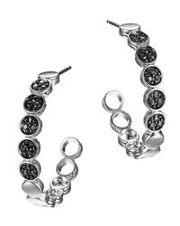 John Hardy - Metallic Silver Dot Lava Small Hoop Earrings With Black Sapphire - Lyst